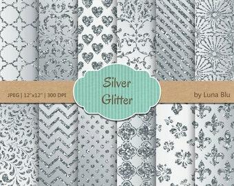 """Silver Glitter Digital Paper: """"Silver Glitter Patterns"""" glitter digital paper, metallic silver backgrounds, silver scrapbook paper"""