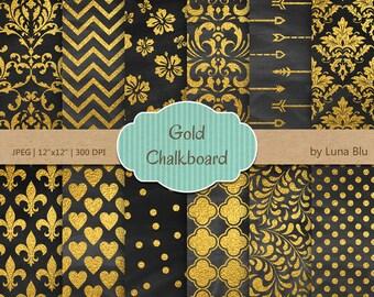 "Gold Chalkboard Digital Paper: ""Chalkboard and Gold"" Chalkboard and Gold Foil Scrapbook Paper, Chalkboard digital paper, Gold digital paper"