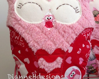 Valentines owl pillow