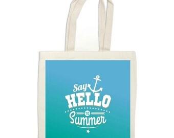 Summer tote bag, beach bag, nautical bag, anchor tote bag, Library bag, Reusable shopping bag, summer market bag, blue beach tote