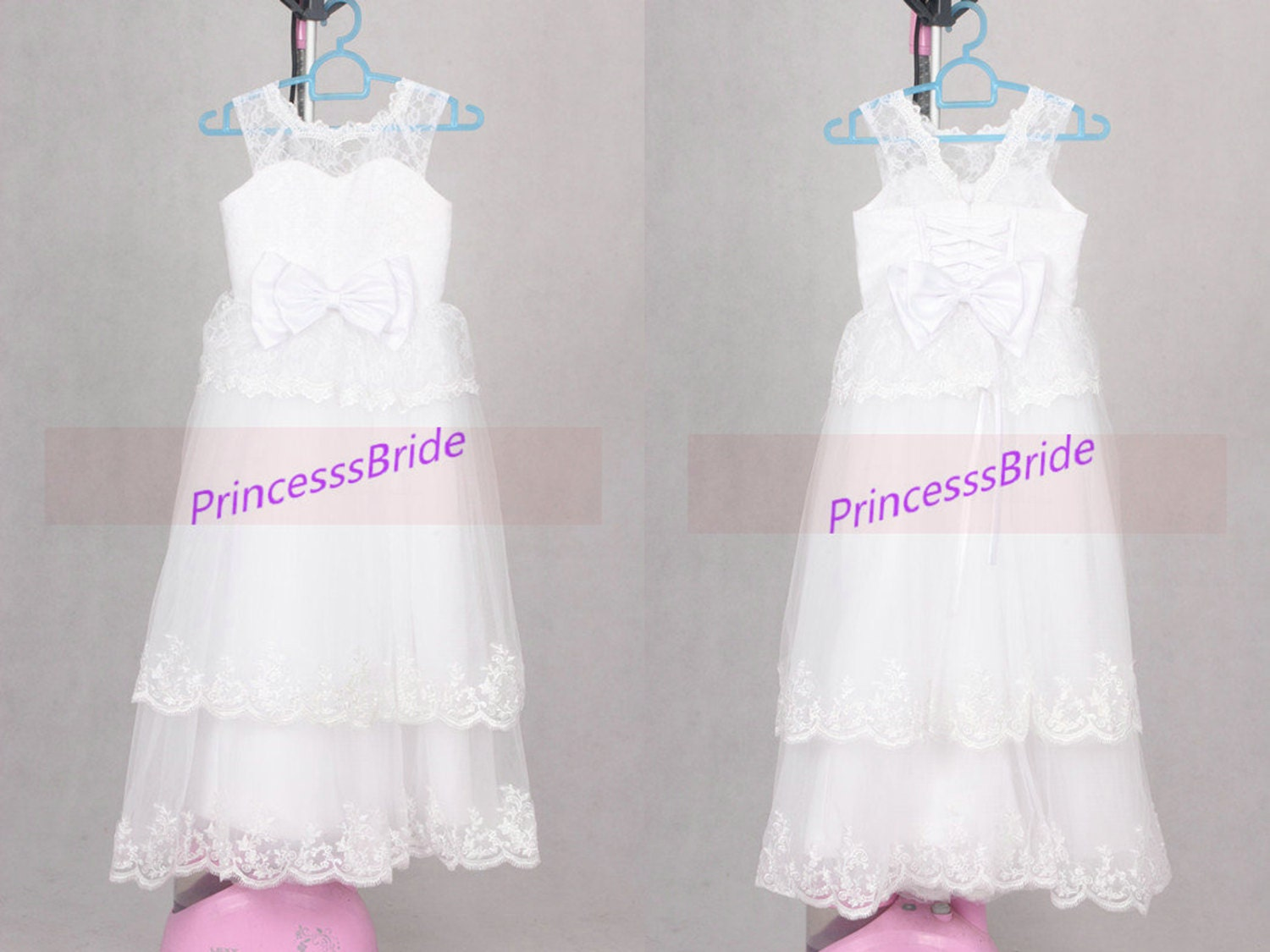 White lace flower girl dresses long simple cheap by PrincesssBride