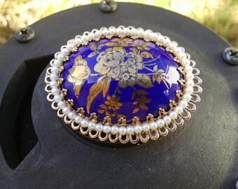 Stunning Cobalt Blue and Gold Enamel on Oval Brooch..Marked Japan..Vintage 1940s