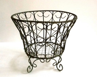Green Wire Planter Basket, Footed Planter