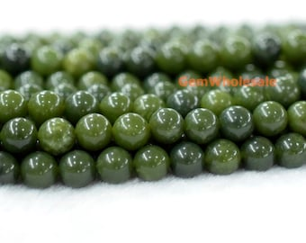 "15.5"" New Canada jade 8mm/10mm/12mm round beads,natural dark Green color gemstone, semi-precious stone, New Canadian jade"