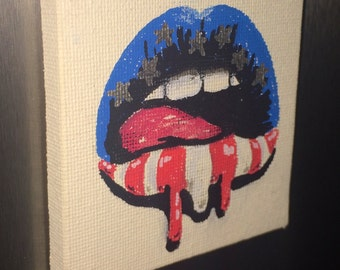 American Flag Lips - Mini Canvas Magnet
