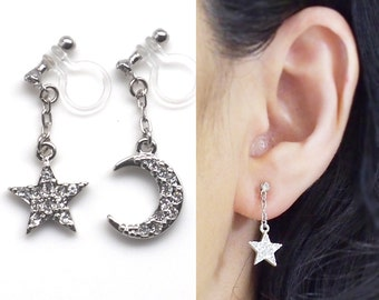 Moon and Star Invisible Clip On Earrings Dangle Lunar Clip Earrings Silver Clip On Earrings Rhinestone Clip-Ons Non Pierced Earrings