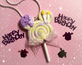 Happy Birthday Cake Inspired Mickey Lollipop Necklace Brooch