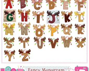 Reindeer Letters applique,Christmas Monograms applique,Christmas,Fonts design,Alphabet ,Reindeer,26 letters,Letters design.