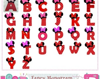 Minnie Monogram AZ AppliqueLetters AppliqueFonts Applique26