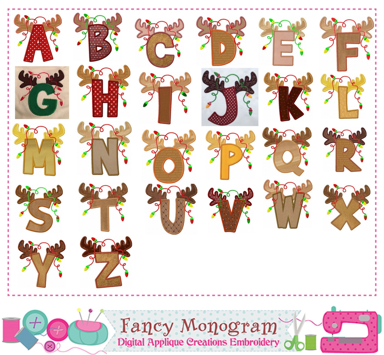 Reindeer letters appliquechristmas monograms