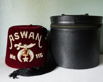 Vintage Shriners Aswan Hat with Hat Box
