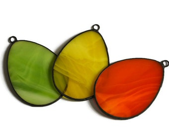 Spring Easter Ornaments Set of 3 lime green, orange and yellow, Stained Glass Easter Eggs Window Decorations, Decorative Colored Easter Eggs