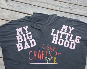 My Big Bad My Little Hood Shirt! Monogrammed Pocket tee!
