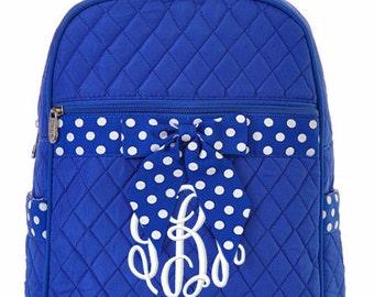 """Personalized Quilted Backpack with Bow - Large 15"""" Royal Blue with White Polka Dot accents - QSD2732-ROWH"""