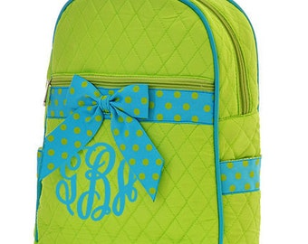 "Personalized Quilted Backpack with Bow - Large 15"" Lime Green with Turquoise Accents - QSD2732-LMTQ"