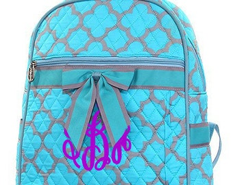"Personalized Quilted Geometric Backpack with Bow - Large 14"" Turquoise and Grey Book Bag with Bow - QG401-TUR"