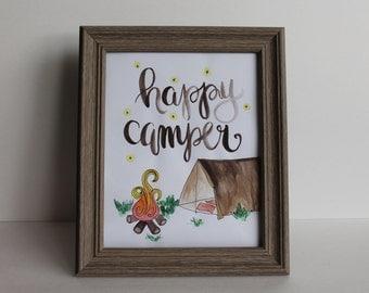 Happy Camper Illustration - Digital File