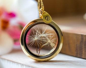 Golden Necklace real Dandelion seeds, personalized necklace Glass Locket pendant , dandelion pendant, wish necklaces, initial, letter