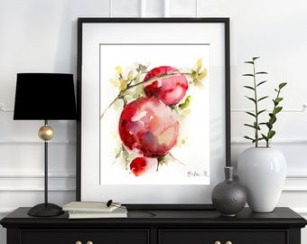 Pomegranates Watercolor Painting Art Print, Watercolour Wall Art