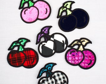 Badge, Cherry Badge in multi-colours, Applique, Gift, Fruity tuity Cherry