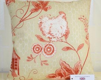 """GP & J Baker Bantam Toile Cushion Cover 16"""" x 16"""" (41cm x 41cm) Red Cream 100% Cotton"""