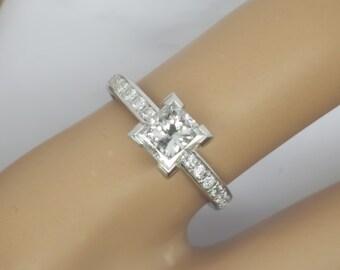 1.23 carat E/SI1 Princess Cut Diamond Engagement Ring 14k White Gold