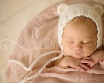 Newborn mohair blend bear bonnet