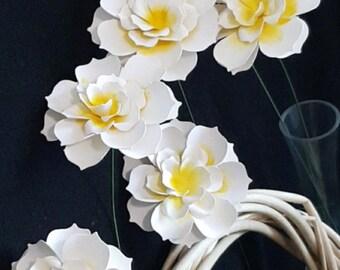 6 Handmade Paper Gardenia Flowers with Stems