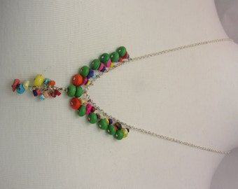 Silver filled wire & Beeds Necklace by Handmade