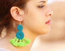 Double Disc Crochet Tassel Earrings - Turquoise & Green