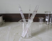 6 Pipettes, Glass Rods, Tubes from Laboratory, Medical Prop