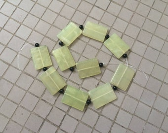 Full Strand Large Natural Serpentine Flat Rectangle Beads