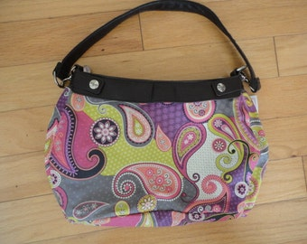 New Thirty-one Purse Purple, Pink, & Green Paisly Purse Skirt for Suite Skirt Purse 31 Gifts