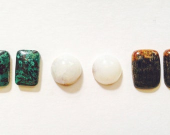 Natural pair turquoise, white calcedony, and petrified wood - designer cabochon pair - set of cabochons - square pair cabs