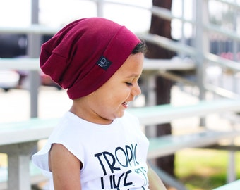 Thin and Soft / Maroon Slouchy Beanie / Lightweight Jersey Knit Slouch Hat
