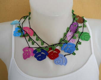 Crochet Necklace, Lariat Necklace, Flowers, Colorful, Red, Blue, Green