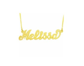 "14YLee321D  - 14K Gold 1.75"" Diamond Cut Script Letter Name Necklace"