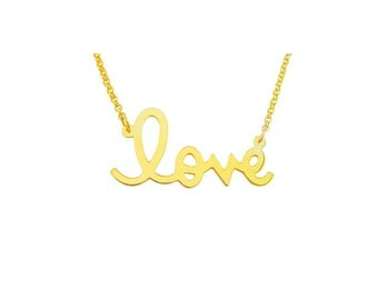 """Love03yb - Yellow Gold Plated Sterling Silver .85"""" Love Necklace"""