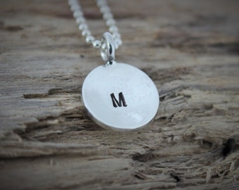 Sterling Silver Initial Necklace - Personalized Initial Charm, Hand Stamped Necklace, Monogram Necklace, Bridesmaid Gift, Custom Initial