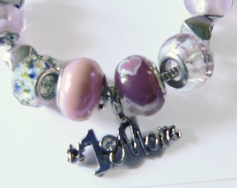 Mom Bracelet with Glass Beads and Baubles
