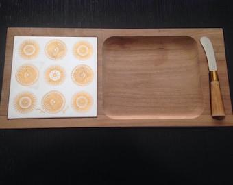 Vintage George Briard Teak and Tile Cheese Tray