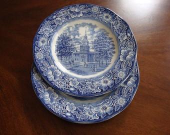 Liberty Blue Transferware Ironstone English Staffordshire Dinner Plates!