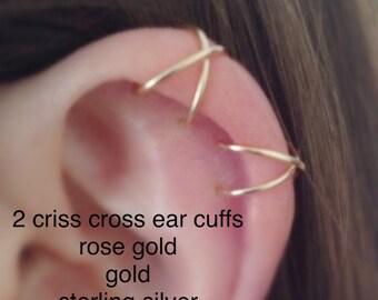 Set of two criss cross upper cartilage ear cuffs