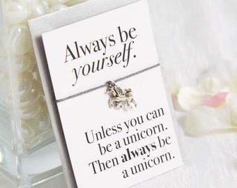 Always be a Unicorn - Unicorn Gift - Unicorn bracelet - Unicorn card - Unicorn jewellery - Unicorn jewelry - Unicorn party favors