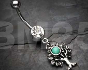 Tree of Life Turquoise Belly Button Ring