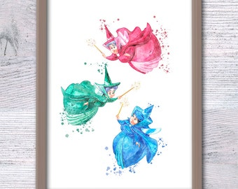 Disney Sleeping Beauty watercolor poster 3 Godmothers art print Fairy godmothers art poster Nursery room wall decor Baby shower gift V194