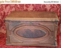 Summer Heat SALE Large Antique Victorian Walnut Keepsake or Bible Box