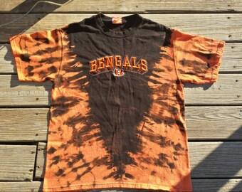 Bengals Tiger Striped Reverse Tie Dye Shirt