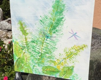 Dragonflys and Fresh Ferns, Original Painting on Canvas, Green Leaves, Purple Dragonfly