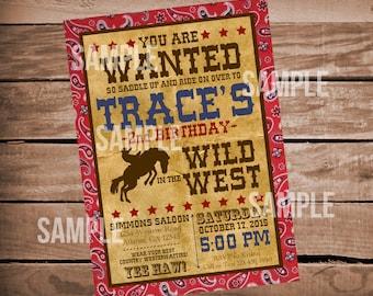 Western Cowboy Wild West Digital Birthday Invitation Bandana Print